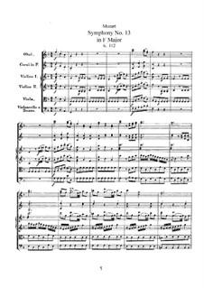 Симфония No.13 фа мажор, K.112: Симфония No.13 фа мажор by Вольфганг Амадей Моцарт