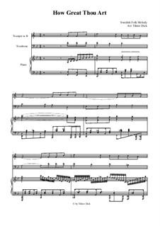 Великий Бог, когда на мир смотрю я: For trumpet in B, trombone and piano by folklore