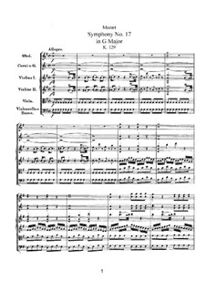 Симфония No.17 соль мажор, K.129: Симфония No.17 соль мажор by Вольфганг Амадей Моцарт