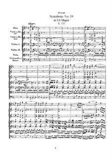 Симфония No.19 ми-бемоль мажор, K.132: Симфония No.19 ми-бемоль мажор by Вольфганг Амадей Моцарт