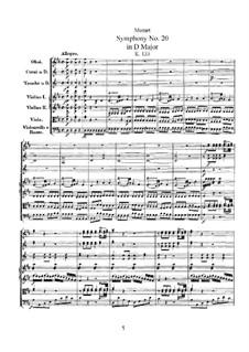 Симфония No.20 ре мажор, K.133: Симфония No.20 ре мажор by Вольфганг Амадей Моцарт
