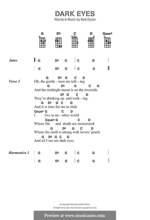 Dark Eyes: Текст, аккорды by Bob Dylan