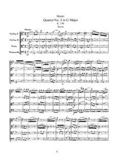 Струнный квартет No.3 соль мажор, K.156: Партитура by Вольфганг Амадей Моцарт