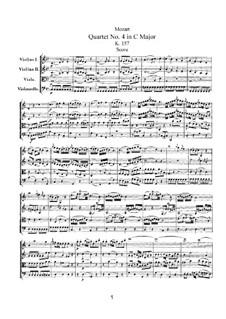 Струнный квартет No.4 до мажор, K.157: Партитура by Вольфганг Амадей Моцарт