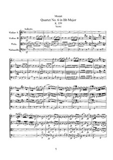 Струнный квартет No.6 си-бемоль мажор, K.159: Партитура by Вольфганг Амадей Моцарт