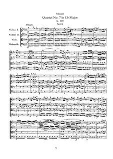 Струнный квартет No.7 ми-бемоль мажор, K.160: Партитура by Вольфганг Амадей Моцарт