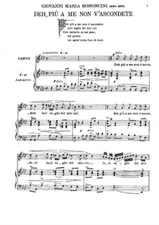 Deh più a me non v'ascondete: For baritone and piano by Джованни Мария Бонончини