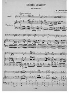Концерт для скрипки с оркестром No.1 си-бемоль мажор, K.207: Аранжировка для скрипки и фортепиано by Вольфганг Амадей Моцарт