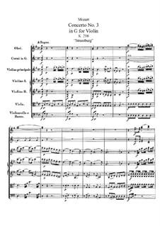 Концерт для скрипки с оркестром No.3 соль мажор, K.216: Партитура by Вольфганг Амадей Моцарт