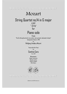 Квартет для струнных No.14 соль мажор, K.387: Для фортепиано by Вольфганг Амадей Моцарт