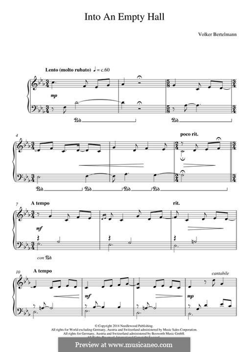 Into an Empty Hall (Hauschka): Для фортепиано by Volker Bertelmann