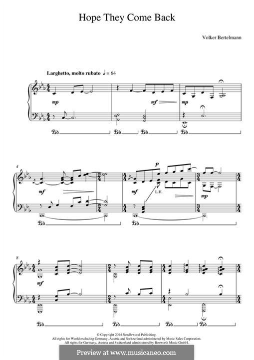 Hope They Come Back (Hauschka): Для фортепиано by Volker Bertelmann