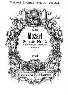 Церковная соната для оркестра No.14 до мажор, K.278: Партия органа by Вольфганг Амадей Моцарт