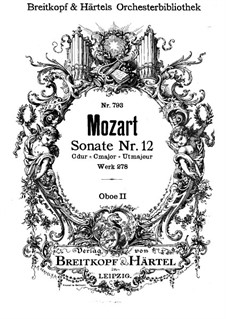 Церковная соната для оркестра No.14 до мажор, K.278: Партия II гобоя by Вольфганг Амадей Моцарт