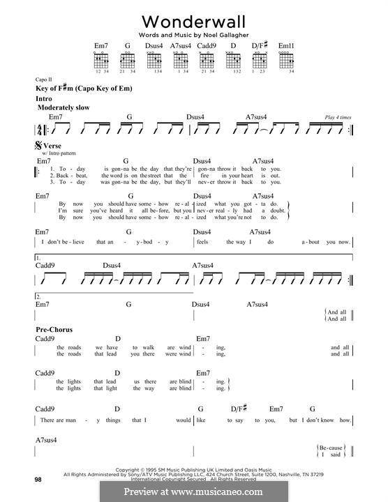 Wonderwall (Oasis): Гитарная табулатура by Noel Gallagher