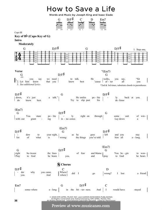 How to Save a Life (The Fray): Гитарная табулатура by Isaac Slade, Joseph King