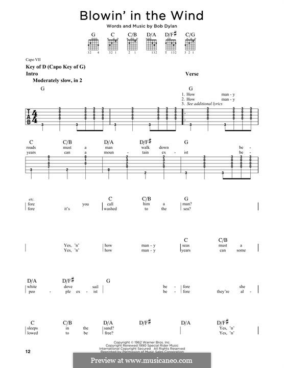 Blowin' in the Wind: For guitar with lyrics by Bob Dylan
