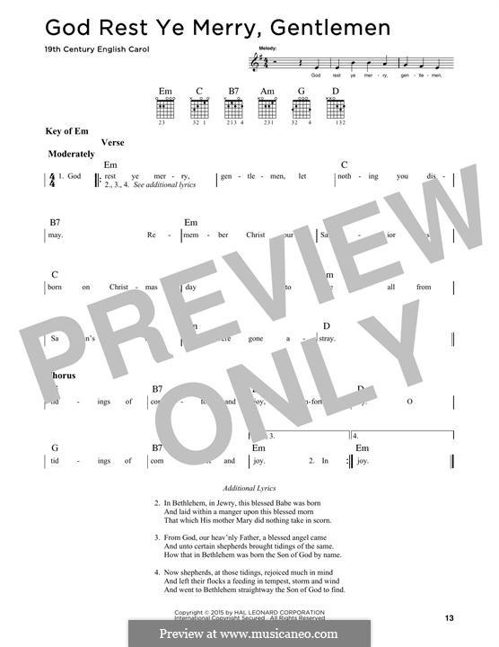God Rest You Merry, Gentlemen (Printable Scores): Гитарная табулатура by folklore
