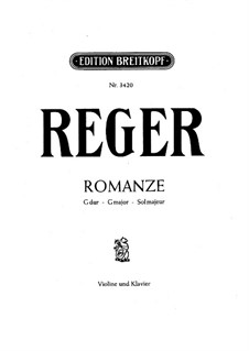 Романс для скрипки (или виолончели) и фортепиано: Партитура by Макс Регер