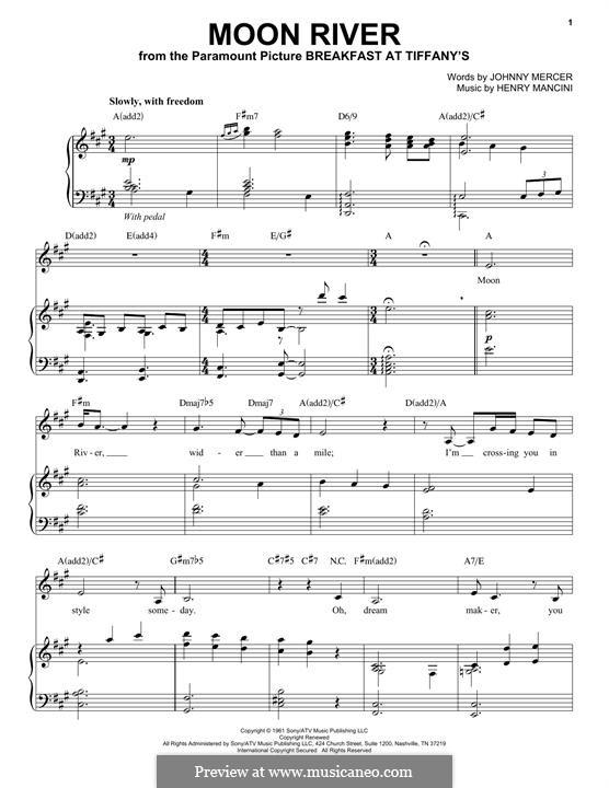 Лунная река (из фильма 'Завтрак у Тиффани'): Для голоса и фортепиано by Henry Mancini
