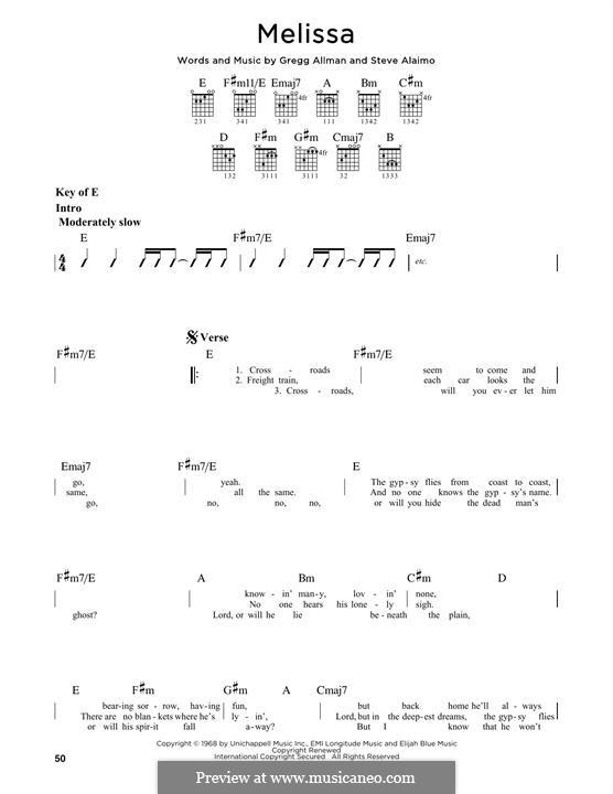 Melissa (The Allman Brothers Band): Гитарная табулатура by Gregg Allman, Steve Alaimo