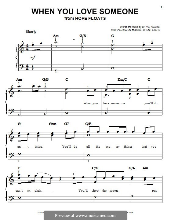 When You Love Someone: Для фортепиано by Bryan Adams, Gretchen Peters, Michael Kamen