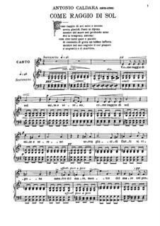 Как луч солнца: For baritone and piano by Антонио Кальдара