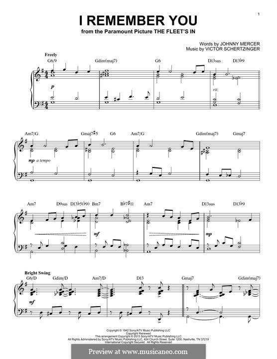 I Remember You (Diana Krall): Для фортепиано by Victor Schertzinger