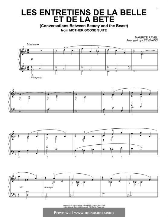 Les entretiens de la belle et de la bete (Conversations Between Beauty and The Beast): Для фортепиано by Морис Равель