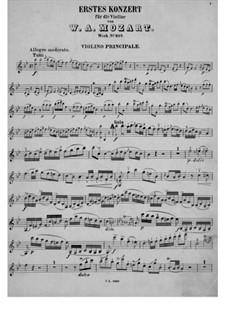 Концерт для скрипки с оркестром No.1 си-бемоль мажор, K.207: Сольная партия by Вольфганг Амадей Моцарт