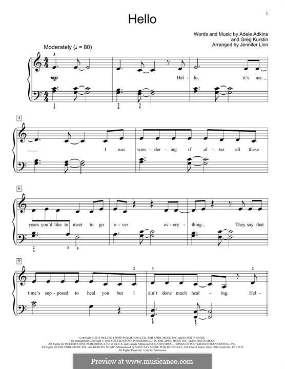 Hello: For piano (Jennifer Linn) by Adele, Greg Kurstin