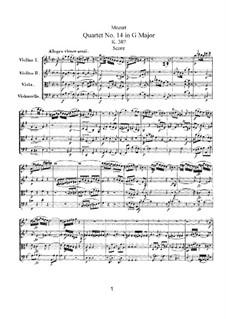 Квартет для струнных No.14 соль мажор, K.387: Партитура by Вольфганг Амадей Моцарт