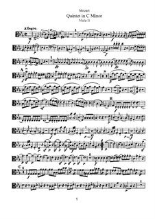 Струнный квинтет No.2 до минор, K.406/516b: Партия II альта by Вольфганг Амадей Моцарт