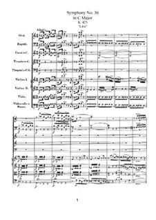 Симфония No.36 до мажор, K.425: Партитура by Вольфганг Амадей Моцарт