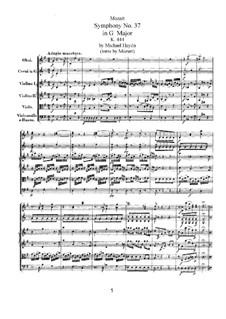 Симфония No.37 соль мажор, K.444: Симфония No.37 соль мажор by Вольфганг Амадей Моцарт