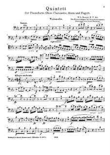 Квинтет для духовых и фортепиано ми-бемоль мажор, K.452: Переложение для струнных – партия виолончели by Вольфганг Амадей Моцарт