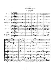 Симфония No.7 ре мажор, K.45: Партитура by Вольфганг Амадей Моцарт