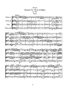 Струнный квартет No.18 ля мажор, K.464: Партитура by Вольфганг Амадей Моцарт