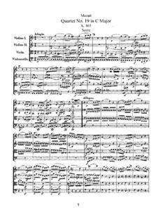Струнный квартет No.19 до мажор 'Диссонанс', K.465: Партитура by Вольфганг Амадей Моцарт