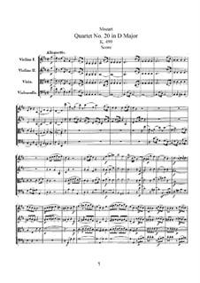 Струнный квартет No.20 ре мажор 'Hoffmeister', K.499: Партитура by Вольфганг Амадей Моцарт