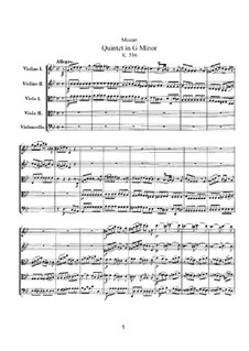 Струнный квинтет No.4 соль минор, K.516: Партитура by Вольфганг Амадей Моцарт