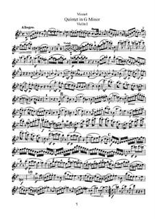 Струнный квинтет No.4 соль минор, K.516: Партия I скрипки by Вольфганг Амадей Моцарт