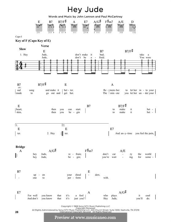 Hey Jude (The Beatles), for One Instrument: Гитарная табулатура by John Lennon, Paul McCartney