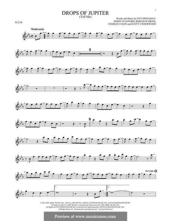 Drops of Jupiter / Tell Me (Train): Для флейты by Charlie Colin, Jimmy Stafford, Patrick Monahan, Rob Hotchkiss, Scott Underwood