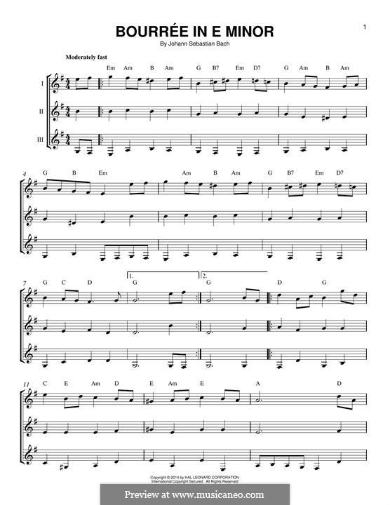 Сюита для лютни (или клавесина) ми минор, BWV 996: Bourrée. Version for any instrument by Иоганн Себастьян Бах