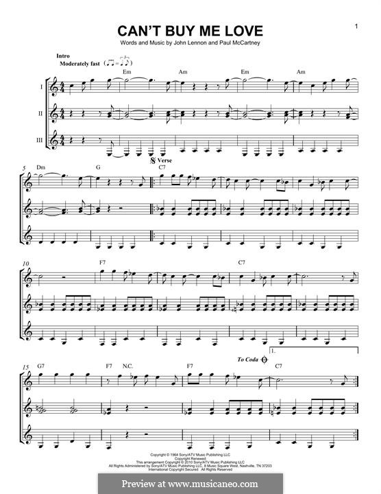 Can't Buy Me Love (The Beatles): For any instrument by John Lennon, Paul McCartney