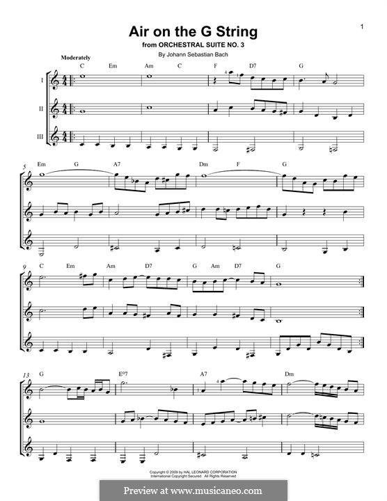 Aria (Printable Scores): Version for any instrument by Иоганн Себастьян Бах