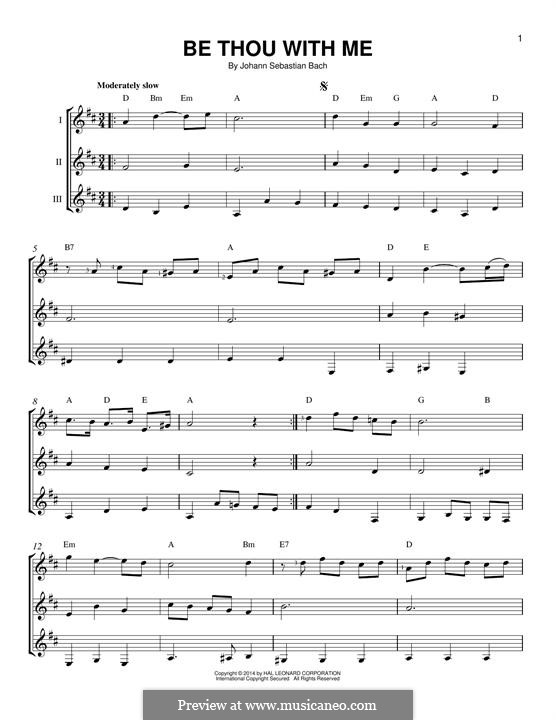 No.25 Bist du bei mir (You Are with Me), Printable scores: For any instrument by Иоганн Себастьян Бах