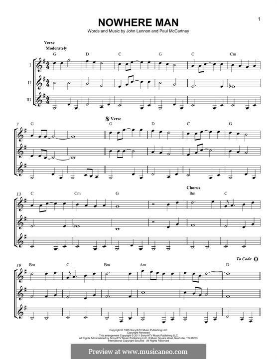 Nowhere Man (The Beatles): For any instrument by John Lennon, Paul McCartney