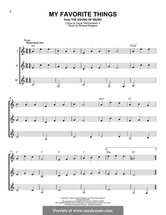 My Favorite Things (from The Sound of Music): For any instrument by Richard Rodgers